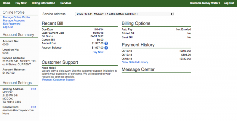 Account Portal Page Example